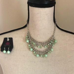 Mint green and silver necklace and earring set